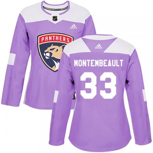 Women's Authentic Florida Panthers Sam Montembeault Purple Fights Cancer Practice Official Adidas Jersey
