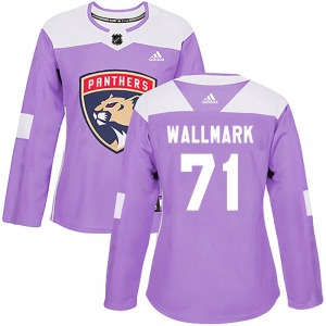 Women's Authentic Florida Panthers Lucas Wallmark Purple Fights Cancer Practice Official Adidas Jersey