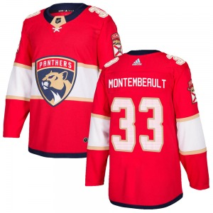 Adult Authentic Florida Panthers Sam Montembeault Red Home Official Adidas Jersey